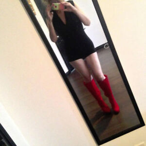 NEW SEXY RED FAUX SUEDE KNEE HIGH BOOTS