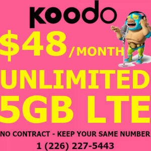 Unlimited 5 GB LTE DATA Plan! $48/mo! No Contracts! Keep Same #!