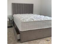 ⚪🔴 Brand New Arizona Divan Complete Bed in Plush Velvet Grey Headboard with Mattress ⚪🔴