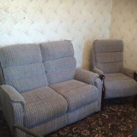2 seater sofa & wooden framed arm chair