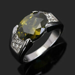 Mens 10K White Gold Filled Peridot Ring, Size 9 - New!