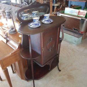 Art Nouveau Antique Mahogany Music Cabinet