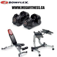 BRAND NEW BOWFLEX 552, 1090 DUMBELLS, 5.1 BENCH AND 2- 1 STAND