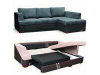 **FREE DELIVERY** BRAND NEW Jumbo Cord Fabric Corner Sofa Bed Black Grey or Brown Beige Material