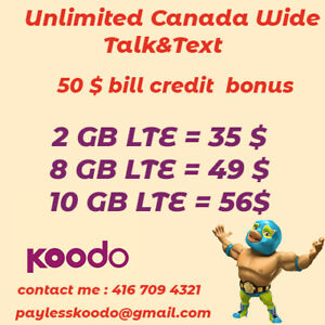 Koodo plan 10 GB for 56 $ Unlimited talk&text Canada Wide