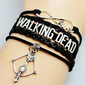 New The Walking Dead Infinity Love Arrow and Bow Charm Leather Braided Bracelet.