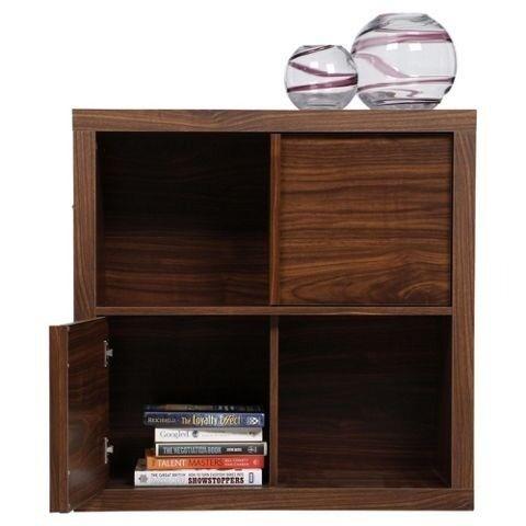 Nice 2 X Tribeca 2 Shelf Walnut Effect Cube Storage Unit And Cabinet