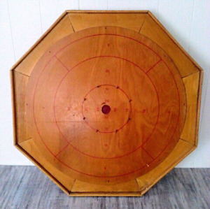Vintage HAND CRAFTED Game CROKINOLE Board INCL PIECES Antique