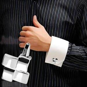 Men's new highly polished square geometric cufflinks (pair).