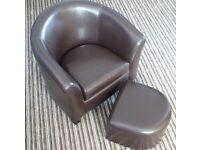 Childs Brown Tub Chair with Footstool