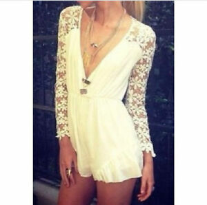 Hot Summer Lace Romper Sexy Fashion Casual Long Sleeves White