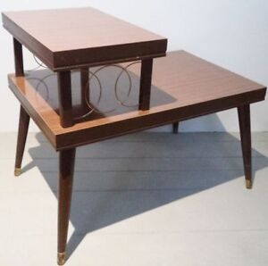 XL SPACE AGE Coffee Side Table WOOD Antique Vintage