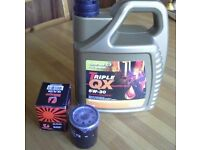 Triple QX SynPlus 5W30 Fully Synthetic Car Engine Oil Low SAPS 5 L & oil filter