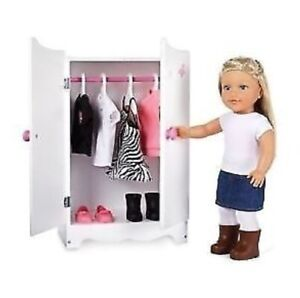"""WOODEN WARDROBE FOR 18"""" Doll Clothing BRAND NEW"""