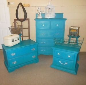antique dresser, nightstands, stools, etc. painted,  teal London Ontario image 1