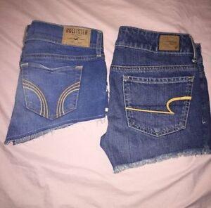 WOW LOOK 3X Pairs of Shorts American Eagle + 1 Hollister denim