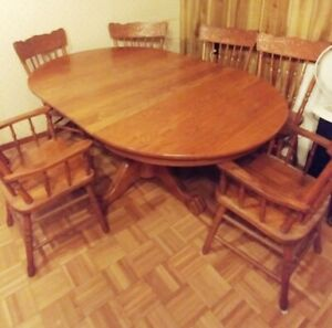 Oak Table Set with 6 Ornate Chairs,