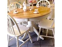 Vintage, shabby chic , country table and 4 chairs