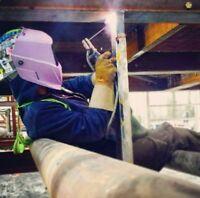 Second year SMAW CWB certified welding apprentice seeking work.