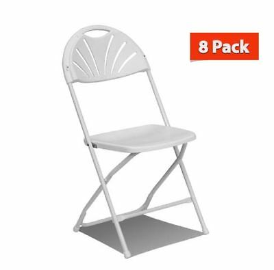 8 Commercial Plastic Folding Chairs White Fan Back Seat Party Wedding (Back Plastic Folding Chair)