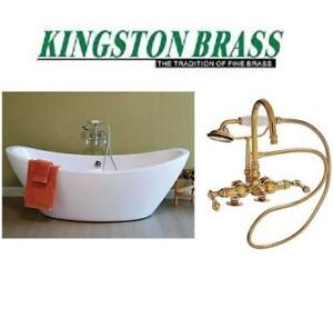 NEW* TUB FILLER W/ HAND SHOWER CC13T2 226906810 KINGSTON BRASS POLISHED BRASS HOUSE HOME BATHROOM