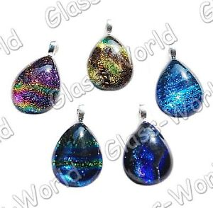 10PCS-Teardrop-Dichroic-Foil-Glass-Pendants-FREE-Clasps