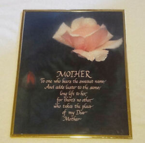 "Framed ""Mother"" print"