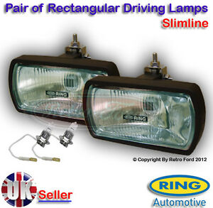 Two-Rectangle-Driving-Spot-Lamps-Lights-Bulbs-2-x-H3-Car-Truck-Lorry