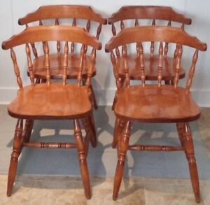 4 QUEBEC MAPLE Wood Kitchen PUB Chairs FREE DELIVERY