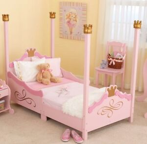 Princess toddler bed with night table