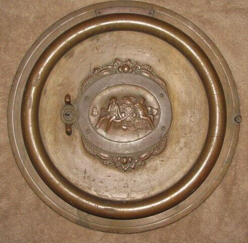"""ANTIQUE NYC 19th C. BRONZE 20"""" Round VAULT DOOR w/ SEAL OF NEW YORK CITY Relief"""