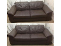 Brown leather 2 identical 2 seater sofas
