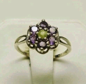 Brand New Amethyst and Peridot Ring