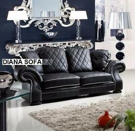 SPECIAL PRICE - BRAND NEW WING BACK DIANA BLACK LEATHER SOFA + DELIVERY