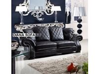 BANK HOLIDAY MEGA SALE - BRAND NEW WING BACK DIANA BLACK LEATHER SOFA + DELIVERY