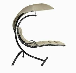 Sorrento Hanging Aluminum Hammock Patio Chair + Shade Umbrella