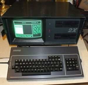 Working antique Kaypro II CP/M portable computer.