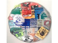 Awesome collection of back stage passes on drum skins. Bob Dylan, ZZ Top, AC:DC, Quo, Bon Jovi etc.