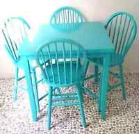 Table and chairs set Turquoise