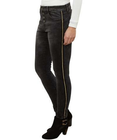 Stretch jeans met streep in maat 38