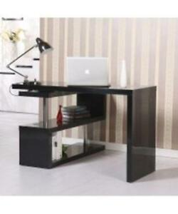 Corner Computer Desk Set Hollow Organizer Storage Wooden DESK