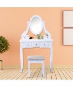 Elegant Vanity Table Set w/ Mirror, 5 Drawers and Matching Stool