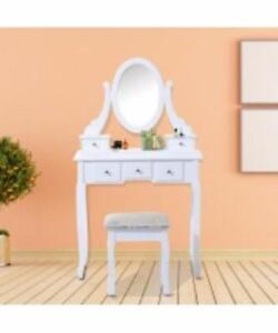 Elegant Vanity Table Set w/ Mirror, 5 Drawers and Matching Stool