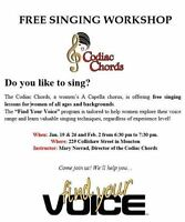 Free Vocal Workshop for Ladies 14 and Up