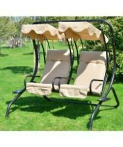 2-person Swing Seat with Canopy / Backyard Patio Swing Chair
