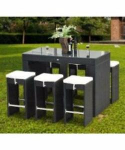 Black 7 pc Rattan Patio Furniture Dining Table Set / Patio Furniture Winter Special price