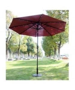 Red Wine 9' Solar Powered LED Patio Umbrella / Patio Umbrella