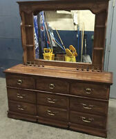 MAHOGANY NINE DRAWER DRESSER WITH MIRROR