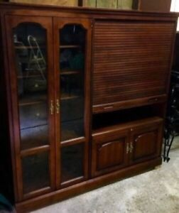 SOLID Cherry Wood Roll-Top Entertainment Unit - $225