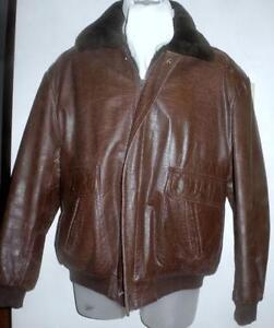 Mens L 42 44 Aviator Jacket Brown Leather Vintage Spring Coat